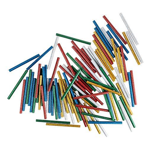 Universal Heißklebepatronen | Heißklebesticks für kleine Heißklebepistolen | Heißkleber Sticks | Ø 7 mm | 10 cm lang | 100 Stück (5 Farben mit Glitzer | silber, gold, rot, grün, blau)