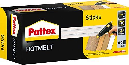 Pattex Hotmelt Sticks / Heißklebesticks zum Nachfüllen von Pattex Heißklebepistolen / 1 Packung (1 kg) mit 50 Pattex Hotmelt Sticks, Ø 11 mm